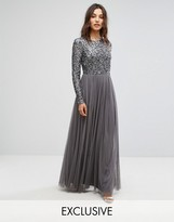 Maya Long Sleeved Maxi Dress With Delicate Sequin And Tulle Skirt