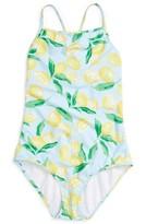 Oscar de la Renta Girl's Painted Lemons One-Piece Swimsuit