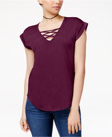 Almost Famous Juniors' High-Low Lace-Up T-Shirt