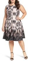 Gabby Skye Plus Size Women's Medallion Print Sleeveless Scuba Fit & Flare Dress