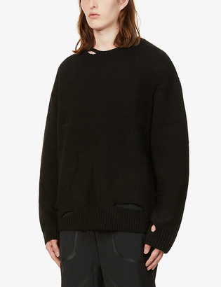 A-Cold-Wall* Destroy ripped oversized wool-blend jumper