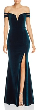 Aqua Off-the-Shoulder Velvet Gown - 100% Exclusive