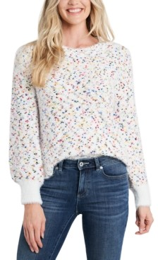 CeCe Flecked Bishop-Sleeve Sweater
