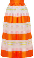 DELPOZO Cropped Striped Organza Wide-leg Pants - Orange