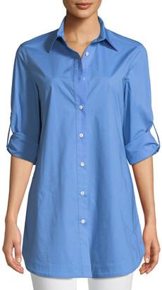 Misook Petite Stretch-Cotton Shirt with Painter's Pockets