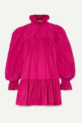 AVAVAV Ruffled Silk-charmeuse Mini Dress - Fuchsia