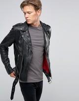 Goosecraft Leather Belted Biker Jacket Asymmetric Zip in Black