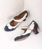 Royal Vintage Retro Style Navy Blue & Ivory Leather Spectator Lillian Heels Shoes