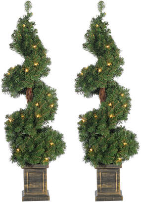 Sterling Tree Company Set Of Two 3.5Ft Pre-Lit Potted Spiral Trees