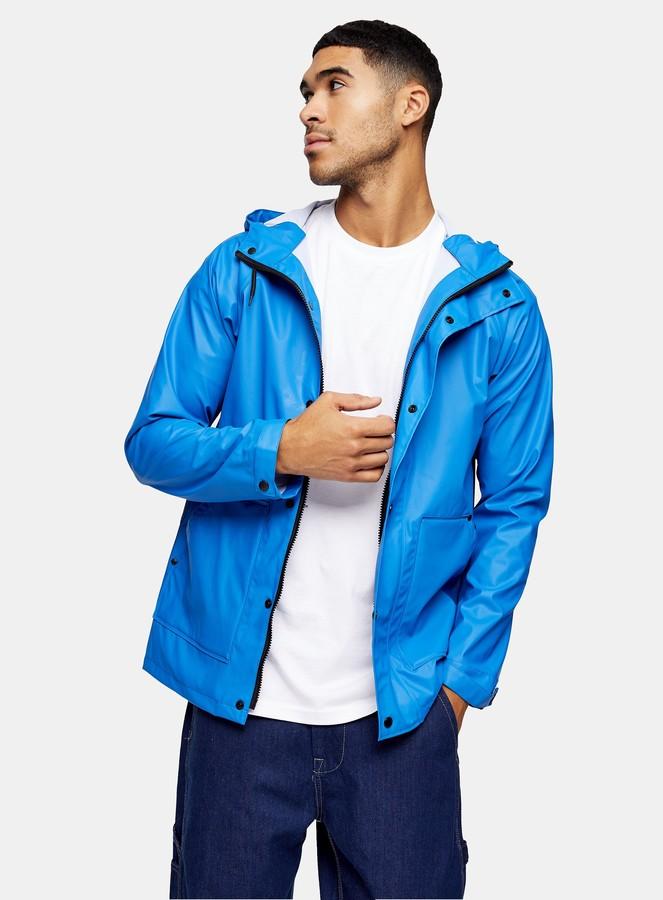 Topman Navy Blue Raincoat
