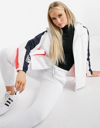 adidas Training hooded jacket in white