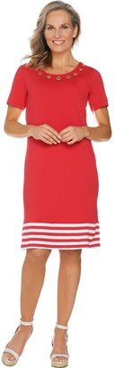 Factory Quacker Short Sleeve Striped Hem Knit Dress with Grommet Detail