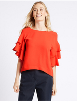 M&S Collection Round Neck Flamenco Sleeve Shell Top
