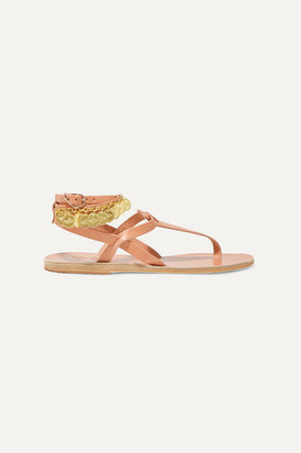 Ancient Greek Sandals Estia Flouria Embellished Leather Sandals - Beige