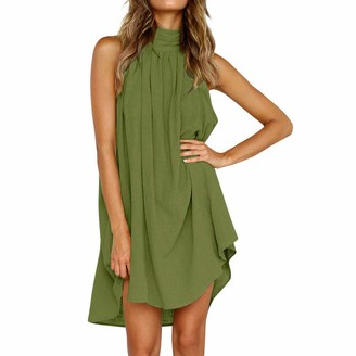 Your New Look Women's Casual Sleeveless Irregular Loose Fit Dress Fashion Solid Color Halter Dress for Summer Beachwear Vacation Plus Size Green