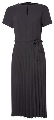 Dorothy Perkins Womens Black Keyhole Pleated Skirt Midi Dress, Black