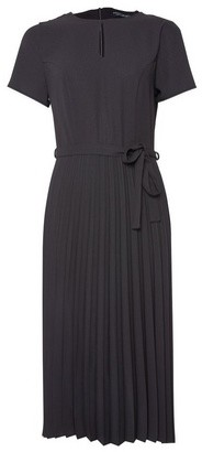 Dorothy Perkins Womens Black Keyhole Pleated Skirt Midi Dress, Black
