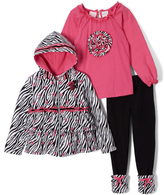 Nannette Black & White Zebra Zip-Up Hoodie Set - Toddler & Girls