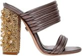 Le Silla 110mm Quilted Leather Sandals W/Crystals