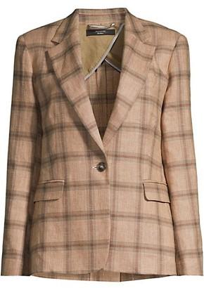 Max Mara Artello Check Linen Cotton Blazer