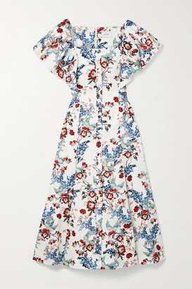 Erdem Maudie Belted Printed Cotton-poplin Midi Dress - White