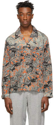 3.1 Phillip Lim Orange and Black Palm Tree Floral Souvenir Shirt