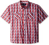 Rocawear Men's Big and Tall Plaid Short Sleeve Woven Pattern 12