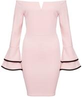 Quiz Pink And Black Bardot Frill Sleeve Bodycon Dress