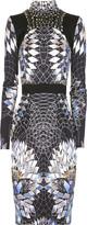 Geometric-print silk jersey dress