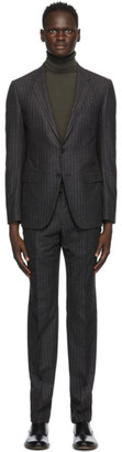 Ermenegildo Zegna Grey Wool and Silk Pinstripe City Suit