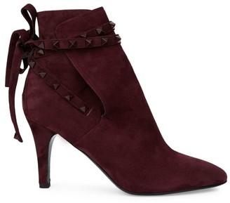 Valentino Gravani Rockstud Flair Ankle-Wrap Suede Booties