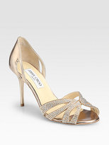 Jimmy Choo Bauble Crystal-Coated Suede Sandals