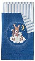 Ikea Sovdags 4 piece crib bedding set. Blue/white 43x49 quilt 14x22 pillowcase 28x52 crib sheet 28x52 skirt by SOVDAGS