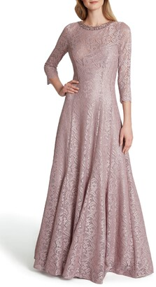 Tahari Beaded Neck Stretch Lace Trumpet Gown