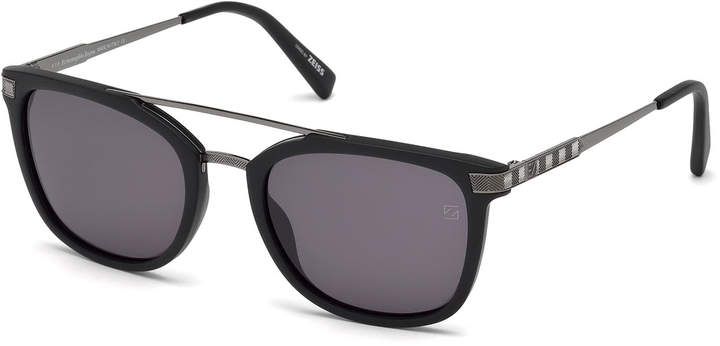Ermenegildo Zegna Acetate & Chevron Metal Rectangular Glasses, Matte Black/Gray