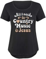 Instant Message Plus Women's Tee Shirts BLACK - Black 'All I Need Is Country Music & Jesus' Scoop Neck Tee - Plus