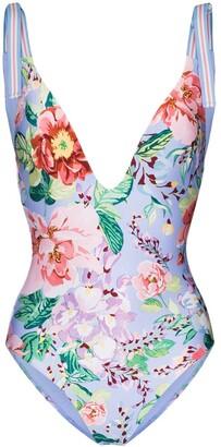 Zimmermann Deep V-neck floral swimsuit