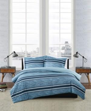 London Fog Mitchell Stripe 3 Piece Duvet Cover Set, Full/Queen Bedding