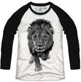 By Young Men's Running Lion Baseball Graphic Basic Long Sleeve Raglan Cotton T-shirts Tee