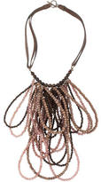 Brunello Cucinelli Sunstone, Bronzite & Wood Beaded Multistrand Necklace