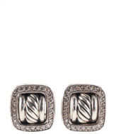 David Yurman Sterling Silver 1.3 CT Pave Halo Diamond Buckle Stud Earrings