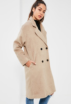 Missguided Petite Camel Cocoon Double Breasted Faux Wool Coat