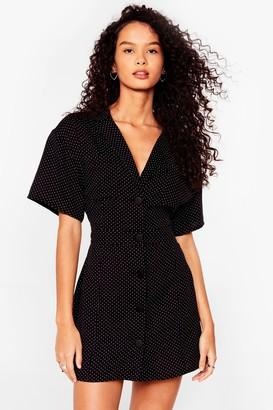 Nasty Gal Womens Polka Dot Fitted Mini Shirt Dress - Black