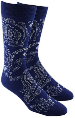 The Tie Bar Platform Paisley Navy Socks