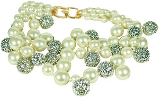 Kenneth Jay Lane 3 Row White Pearl Beads Necklace with Pave Crystal Balls Accents
