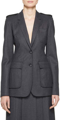 Gabriela Hearst Wesley Merino Wool Epaulette-Shoulder Blazer