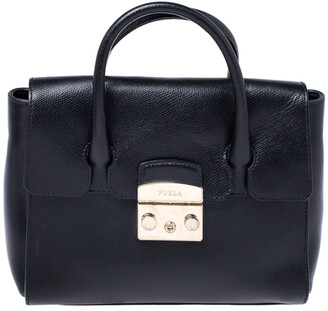 Furla Black Leather Small Metropolis Tote