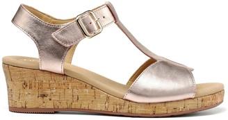 Hotter Martinique Wide Fit Wedge Heeled T-bar Sandals - Rose Gold