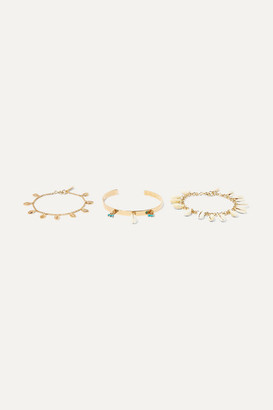 Isabel Marant Set Of Three Gold-tone, Shell And Bead Bracelets - one size
