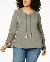 Style&Co. Style & Co Plus Size Embroidered Lantern-Sleeve Peasant Top, Created for Macy's